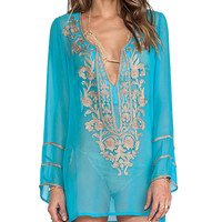 Ella Moss Belle Floral Long Sleeve Cover Up in Blue