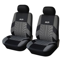 Adeco [CV0224] 4-Piece Car Vehicle Protective Seat Covers, Universal Fit, Black/Gray Tire Track Detail