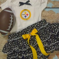 Girls Pittsburgh Steelers Cheerleader Outfit, Baby Girls Coming Home Outfit, Football Outfit, Game Day