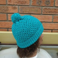 Knit Unisex Hat in Aqua Blue, Honeycomb Hat for Women, Honeycomb Hat for Men