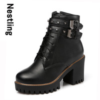 New Autumn Boots Fashion Leather Boots Casual High Heels Platform Shoes Woman Rivets Lace Up Zip Women Ankle Boots D45