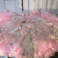 Pink Christmas tree skirt cottage roses shabby tattered handmade up cycled fabrics, vintage lace and cream ruffles anita spero design.