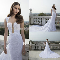 New Backless Beautiful Bridal Gowns Vestido De Casamento Lace Chiffon Cathedral Train wedding dresses with detachable train Alternative Measures - Brides & Bridesmaids - Wedding, Bridal, Prom, Formal Gown