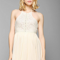 Pins And Needles High-Neck Lace Gauze Dress - Urban Outfitters