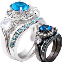 Size 5 6 7 8 9 10 11 Rhodium Plated Sapphire Black Silver Wedding Engagement Ring Set = 1930288708