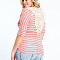 Plus Size Crocheted Back Striped Knit Top
