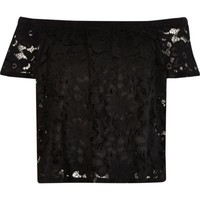 River Island Womens Black lace bardot top