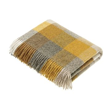 Wool Throw Blanket - Harlequin - Mustard, Made in England