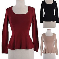 Solid Colors Plain Peplum Scoop Neck Long Sleeve Frill Skater Top Blouse Shirt