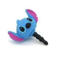 SilverCon - 3D Blue Stitch 3.5mm Headphone Anti-Dust Plug Cap with SilverCon Unversial Cord Winder