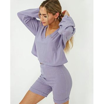 Savage Bubble Sleeve Lounge Wear Set in Lavender