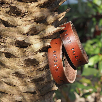 Personalized Couple Leather Cuff Bracelet #Brown