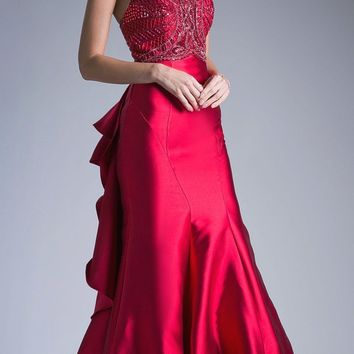 Red Cut-Out and Ruffled Back Mermaid Prom Gown