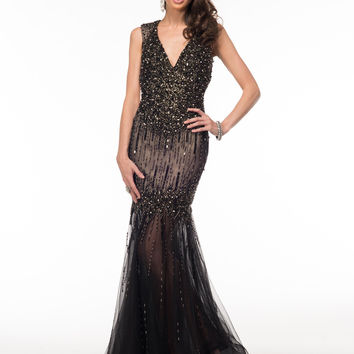 GLOW G519 Black Beaded Mermaid Prom Dress Evening Gown Mother of Bride