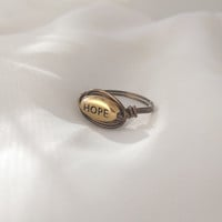 Rustic Hope Ring, wire wrapped vintage bronze color hope ring with gold colored bead.