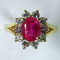 3.10ct Oval Ruby Diamond Engagement Ring 18kt Yellow Gold JEWELFORME BLUE