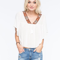 Lottie & Holly Taping Womens Peasant Top Cream  In Sizes
