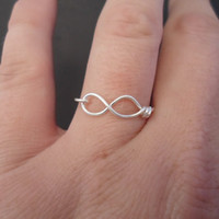 INFINITY ring, Silver plated. INFINITE symbol ring. Hypoallergenic.