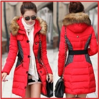 2014 New Brand Fashion Clothing Fur Hooded Zipper Long Style Women Warm Down Coat Winter parkas coat = 1930041796
