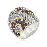 Purple And Clear Crystal Rose Ring, size : 10