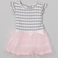 Youngland Gray & Pink Ruffle Dress - Infant | Something special every day