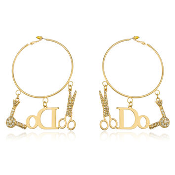 Goldtone Thin 'I Do Hair' 2.75 Inch Hoop Earrings with Dangling Stone Charms