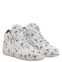 Giuseppe Zanotti Gz The Signature White Fabric Mid-top Sneaker With Black Logo Motif