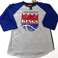 Sacramento Kings Majestic 3/4 Sleeve Youth T Shirt Sizes M, L, XL