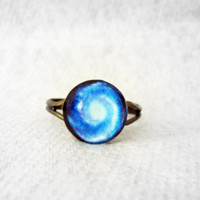 Space Ring, Tiny Galaxy Ring, Spiral Galaxy Ring, Blue Ring, Celestial Ring, Outer Space Ring, Deep Space Ring, Milky Way Ring