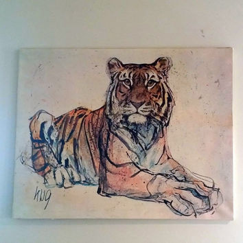 VINTAGE TIGER ART - Mid Century Lithograph on Canvas - Artist Fritz Rudolf Hug - Animal Painting - Super Cool Ready to hang -