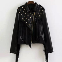 Stud Leather Biker Jacket with Fringe - US$63.95 -YOINS