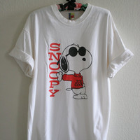 Vintage Snoopy Joe Cool Over size tee white black and red