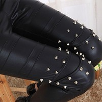 2017 girl punk leather legging immitation gothic patchwork rivet nine Leggings female fitted fake leather pants club bar