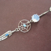 Turquoise Dream Catcher Belly Button Ring Enamel by Azeetadesigns