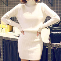 White Turtle Neck Long Sleeve Knitted Dress