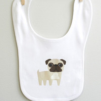 Baby bib featuring cute Pug