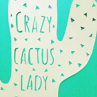 Crazy cactus lady / mint green wall art / cactus wall art