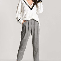 Pleated Houndstooth Trousers