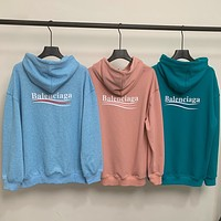 Balenciaga Hooded Sweater Paris Letter Logo Printing Loose Coat