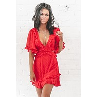 Will You Accept This Rose Red Chiffon Dress