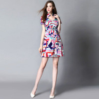 Multicoled Mosaic Collared Short Sleeve A-Line Mini Dress