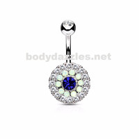 Blue Triple Tiered Crystal and Opalite 316L Surgical Steel Navel Ring 14ga