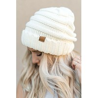 Knitted Fold Over Beanie - Ivory