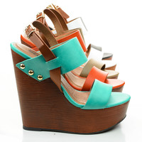 Chef Open Toe Wooden Platform Wedge Sandal w Metal Detail & Contrasting Strap