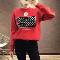 """Louis Vuitton"" Women Fashion Letter Logo Pattern Knit Long Sleeve  Sweater Tops"