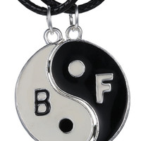 "Best Friends ""BF"" 2-piece Yin-Yang Necklace"