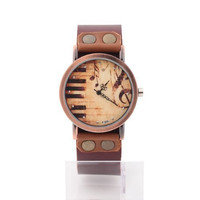 Women's Lady's Vintage Piano Music Watch Brown Leather Strap