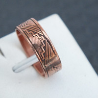 Copper Ring with Tribal Designs, Size 6 3/4, Aztec Indian Southwestern Theme Design, Copper Native American Ring, Free Shipping and Gift Box