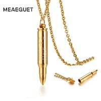 Open Bullet Pendant Mens Choker Necklace Cremation Urn Cremation Engraved Cross Gold Color Stainless Steel  Male Punk Jewelry