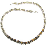 Navajo Tigers Eye Necklace Sterling Silver 18 Inches